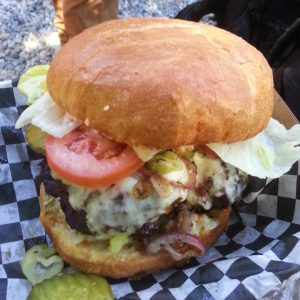 A giant gut buster burger from the Sierra City Country Store