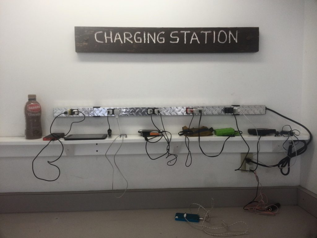 An exceptionally uncluttered charging station on the Pacific Crest Trail.