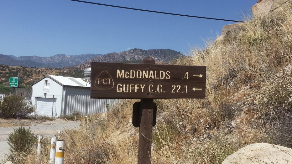 A PCT sign for McDonalds at Cajon Pass, CA